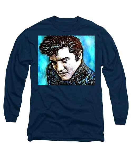 Elvis Presley Never Left The Building Alcohol Inks Long Sleeve T-Shirt
