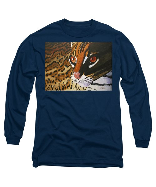 Endangered - Ocelot Long Sleeve T-Shirt by Mike Robles