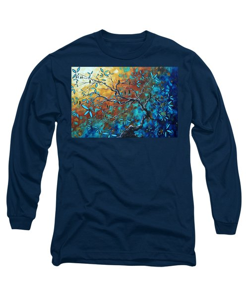 Enormous Abstract Bird Art Original Painting Where The Heart Is By Madart Long Sleeve T-Shirt