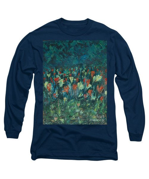 Long Sleeve T-Shirt featuring the painting Evening Buds by Mini Arora