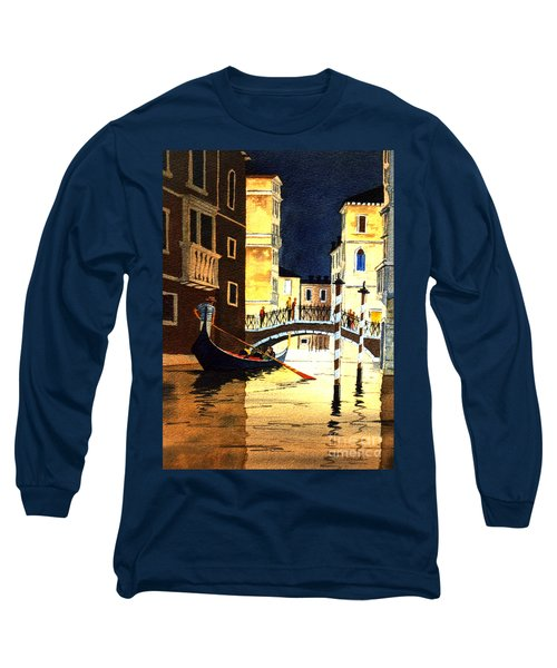 Long Sleeve T-Shirt featuring the painting Evening Lights - Venice by Bill Holkham