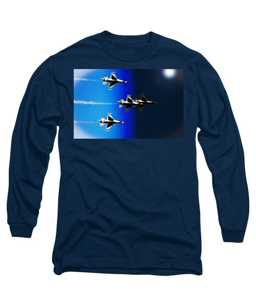 Long Sleeve T-Shirt featuring the photograph F16 Flight Into Space by DigiArt Diaries by Vicky B Fuller