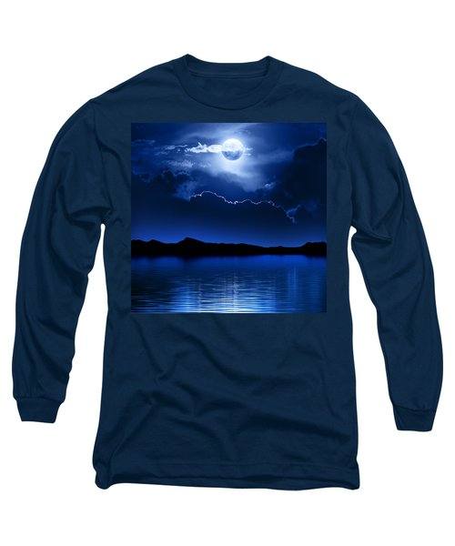 Fantasy Moon And Clouds Over Water Long Sleeve T-Shirt by Johan Swanepoel
