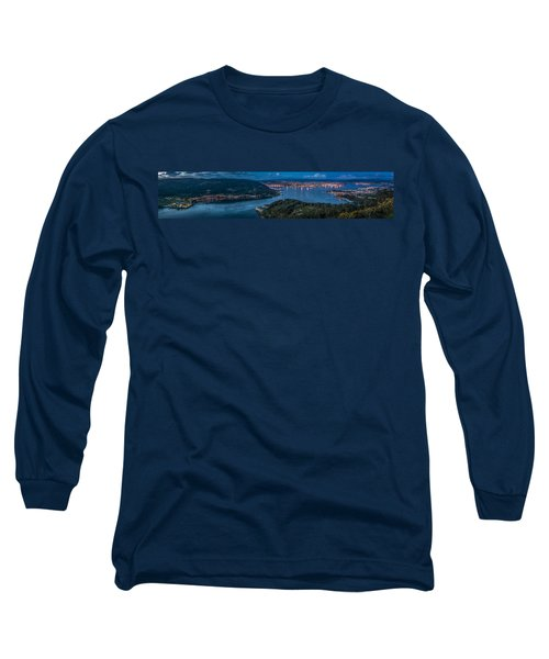 Long Sleeve T-Shirt featuring the photograph Ferrol's Estuary Panorama From La Bailadora Galicia Spain by Pablo Avanzini