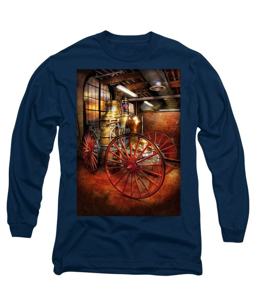Fireman - One Day A Long Time Ago  Long Sleeve T-Shirt by Mike Savad