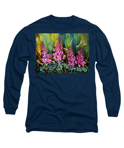 Fireweed And Dragonflies Long Sleeve T-Shirt by Teresa Ascone