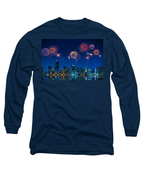 Fireworks In Miami Long Sleeve T-Shirt