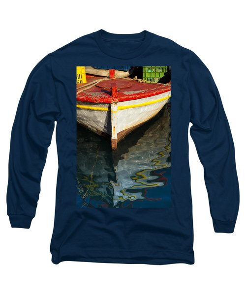 Fishing Boat In Greece Long Sleeve T-Shirt by Mike Santis