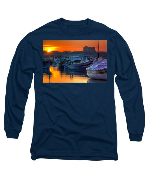 Fishing Boats In Birzebuggia Harbour Long Sleeve T-Shirt