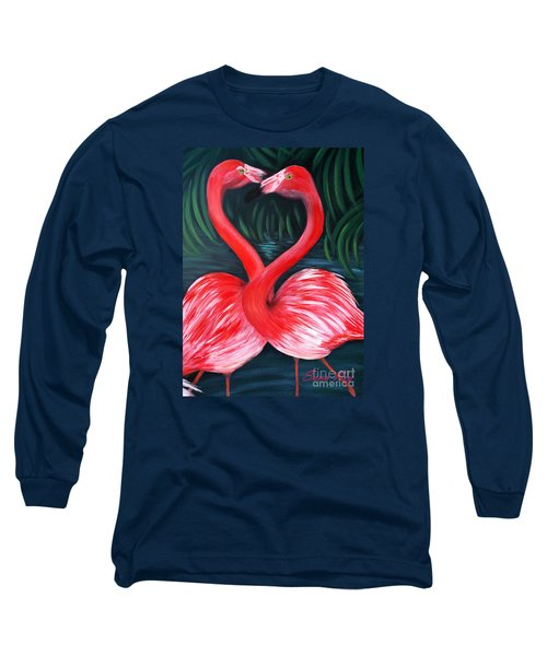 Flamingo Love Card Long Sleeve T-Shirt by Oksana Semenchenko