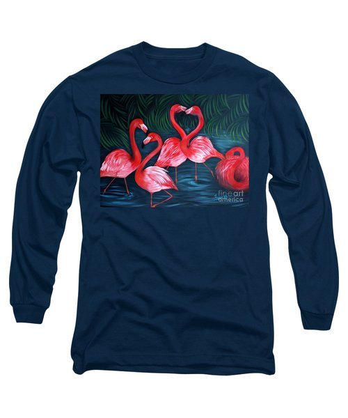 Flamingo Love. Inspirations Collection. Special Greeting Card Long Sleeve T-Shirt by Oksana Semenchenko