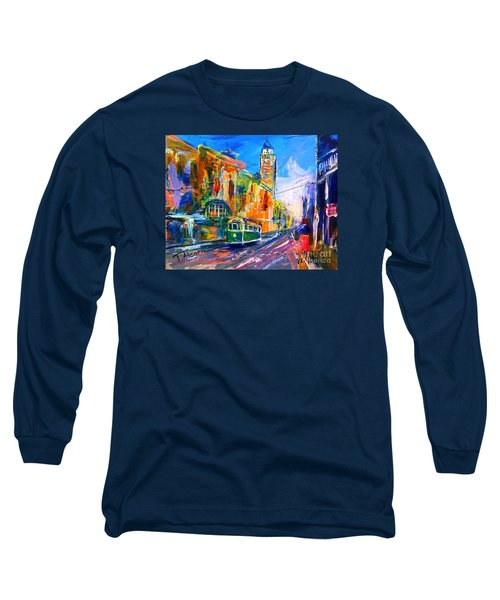 Long Sleeve T-Shirt featuring the painting Flinders Street - Original Sold by Therese Alcorn