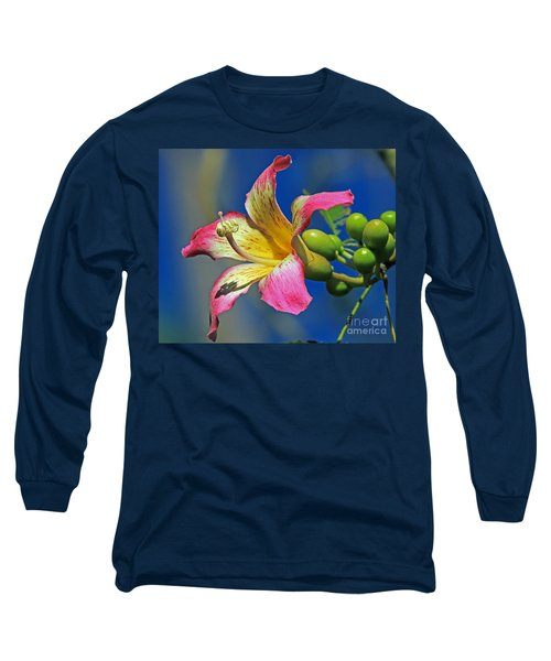 Long Sleeve T-Shirt featuring the photograph Floss Silk Bloom by Larry Nieland