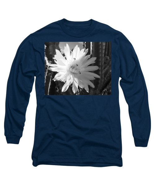 Long Sleeve T-Shirt featuring the photograph Flowering Cactus 5 Bw by Mariusz Kula