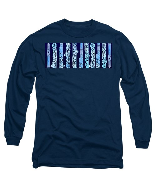 Flutes In Blue Long Sleeve T-Shirt
