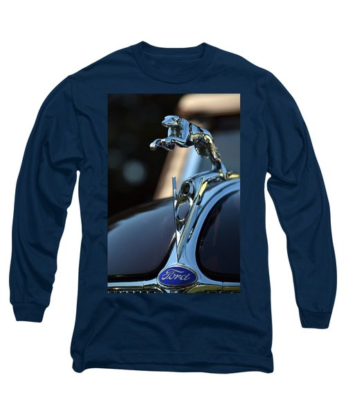 Ford V-8 Hood Ornemant Long Sleeve T-Shirt by Dean Ferreira