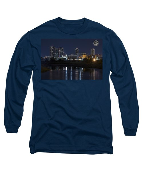 Fort Worth Skyline Super Moon Long Sleeve T-Shirt
