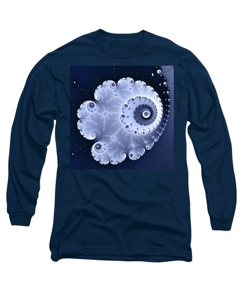 Fractal Spiral Light And Dark Blue Colors Long Sleeve T-Shirt by Matthias Hauser