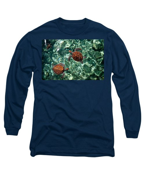 Fragile Underwater World. Sea Turtles In A Crystal Water. Maldives Long Sleeve T-Shirt by Jenny Rainbow