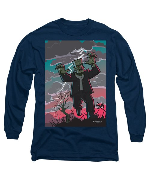 Frankenstein Creature In Storm  Long Sleeve T-Shirt by Martin Davey
