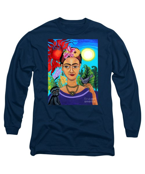 Frida Kahlo With Monkey And Bird Long Sleeve T-Shirt by Genevieve Esson