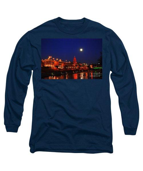 Full Moon Over Plaza Lights In Kansas City Long Sleeve T-Shirt by Catherine Sherman