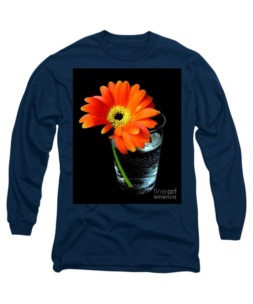 Long Sleeve T-Shirt featuring the photograph Gerbera Daisy In Glass Of Water by Nina Ficur Feenan