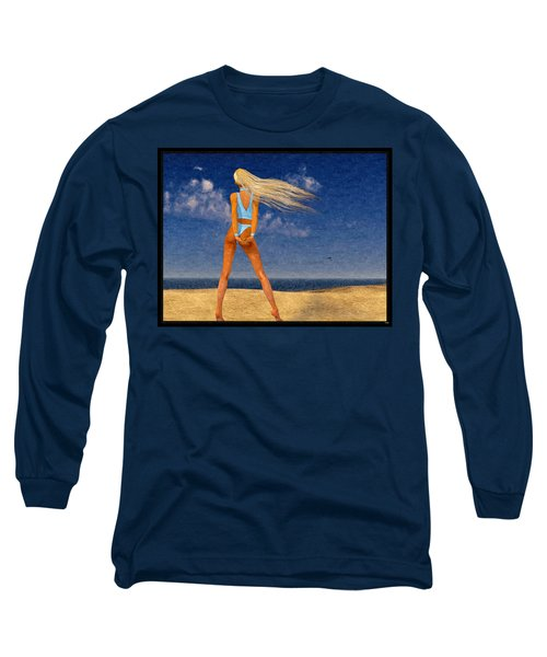 Girl On The Beach...watercolor Effected Long Sleeve T-Shirt