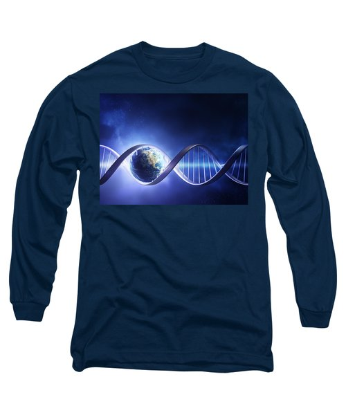 Glowing Earth Dna Strand Long Sleeve T-Shirt by Johan Swanepoel