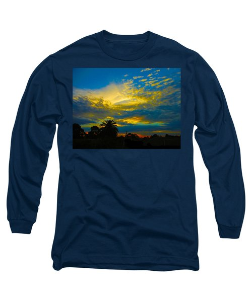 Gold And Blue Sunset Long Sleeve T-Shirt