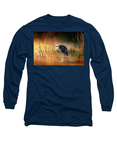 Goliath Heron With Sunrise Over Misty River Long Sleeve T-Shirt by Johan Swanepoel