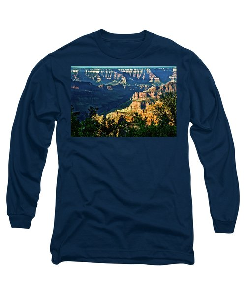 Long Sleeve T-Shirt featuring the photograph Grand Canyon  Golden Hour On Angel Point by Bob and Nadine Johnston
