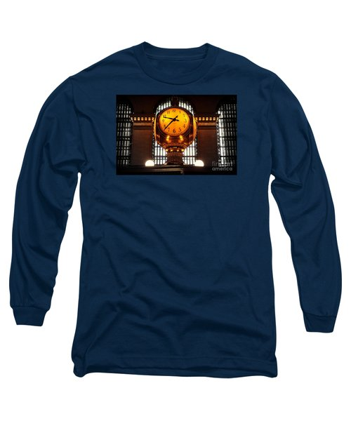 Grand Old Clock At Grand Central Station - Front Long Sleeve T-Shirt by Miriam Danar