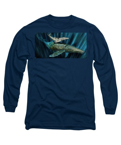 Graywhale Momma And Calf Long Sleeve T-Shirt by Steve Ozment