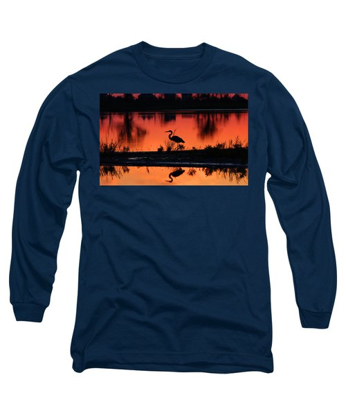 Great Blue Heron At Sunrise Long Sleeve T-Shirt by Allan Levin