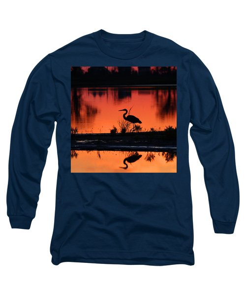Great Blue Heron At Sunrise Long Sleeve T-Shirt