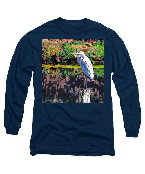 Great Blue Heron At The Pond Long Sleeve T-Shirt