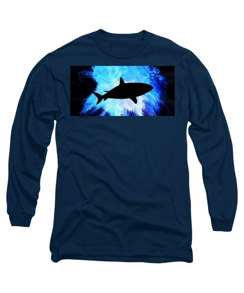 Blue Long Sleeve T-Shirt featuring the painting Great White by Aaron Berg