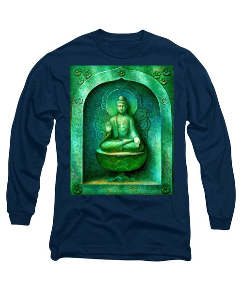 Long Sleeve T-Shirt featuring the painting Green Buddha by Sue Halstenberg