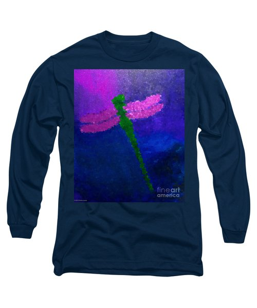 Long Sleeve T-Shirt featuring the painting Green Dragonfly by Anita Lewis