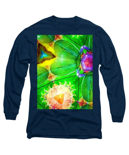 Green Thing 2 Abstract Long Sleeve T-Shirt by Saundra Myles