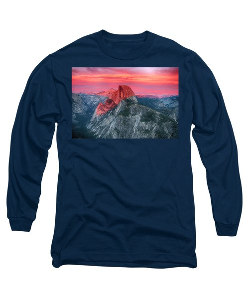 Long Sleeve T-Shirt featuring the painting Half Dome Sunset From Glacier Point by John Haldane