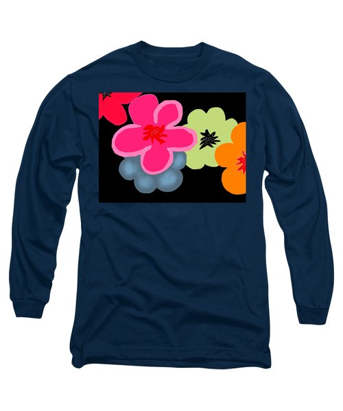 Long Sleeve T-Shirt featuring the digital art Happy Flowers Pink by Christine Fournier