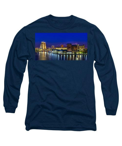 Harbor Island Nightlights Long Sleeve T-Shirt by Marvin Spates