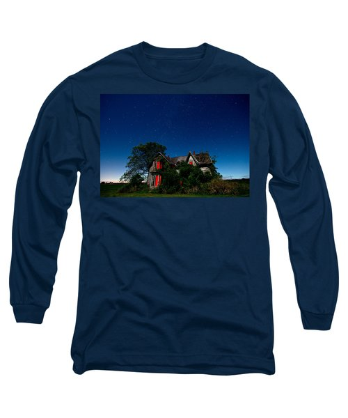Haunted Farmhouse At Night Long Sleeve T-Shirt