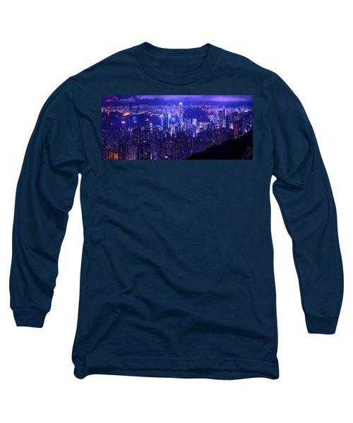 Hong Kong In Purple Long Sleeve T-Shirt