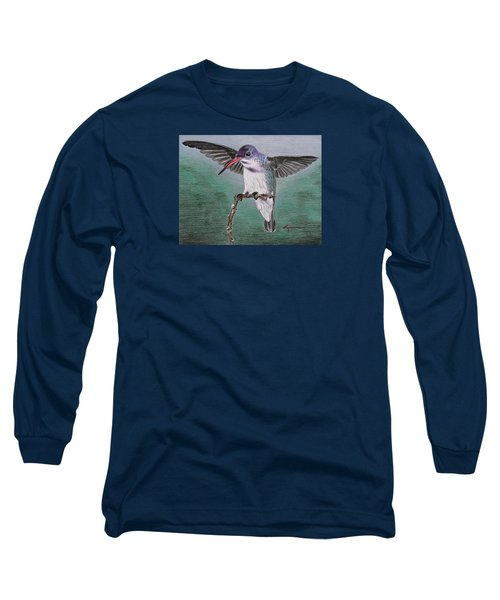 Long Sleeve T-Shirt featuring the drawing Hummingbird by Kume Bryant
