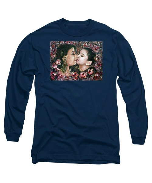 Long Sleeve T-Shirt featuring the painting I Love You Mom by Harsh Malik