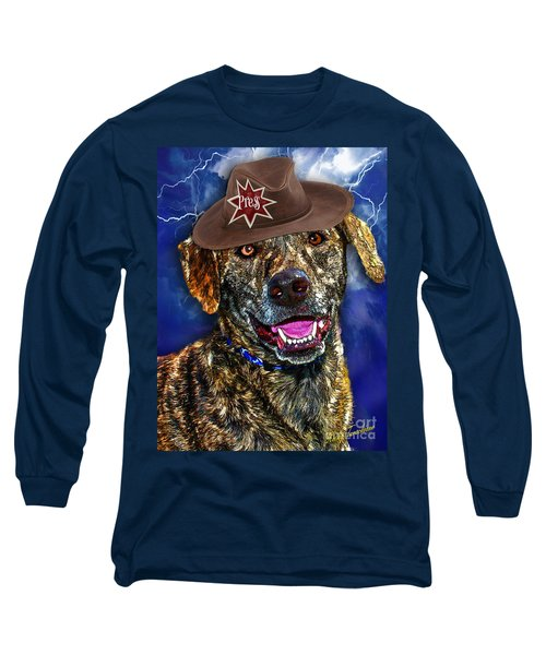 Long Sleeve T-Shirt featuring the digital art I'm A Canine Community Reporter by Kathy Tarochione