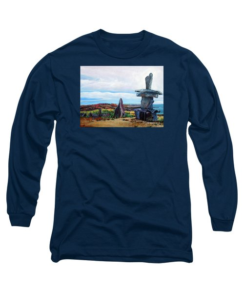 Inukshuk Long Sleeve T-Shirt by Marilyn  McNish